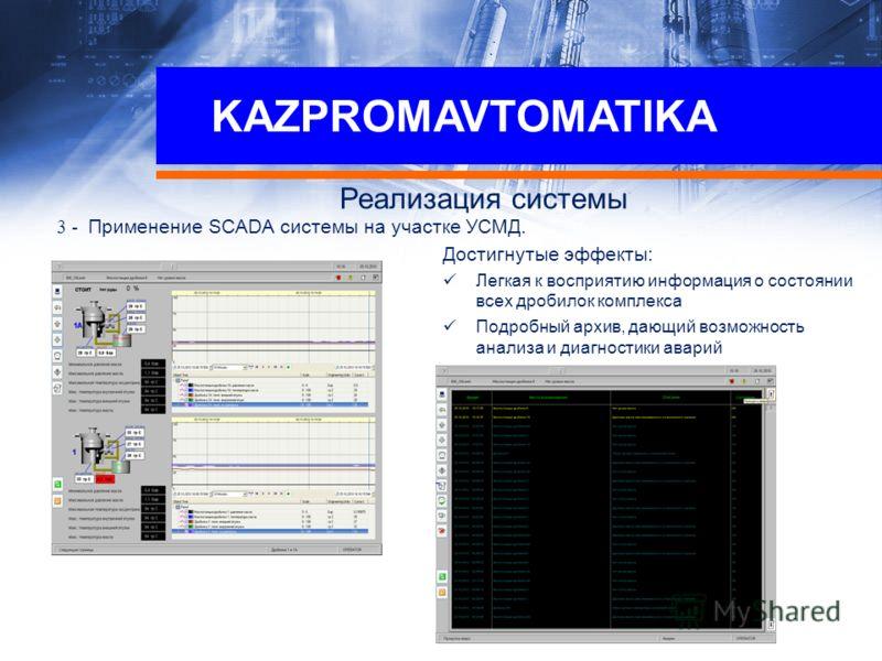 KAZPROMAVTOMATIKA Реализация системы 3 - Применение SCADA системы на участке УСМД. Достигнутые эффекты: Легкая к восприятию информация о состоянии всех дробилок комплекса Подробный архив, дающий возможность анализа и диагностики аварий Преимущества н