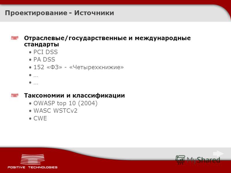Проектирование - Источники Отраслевые/государственные и международные стандарты PCI DSS PA DSS 152 «ФЗ» - «Четырехкнижие» … Таксономии и классификации OWASP top 10 (2004) WASC WSTCv2 CWE