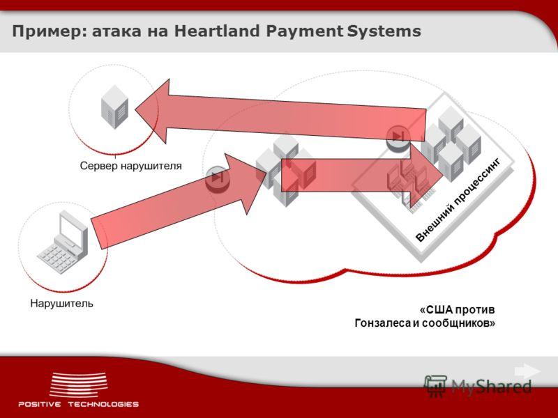 Пример: атака на Heartland Payment Systems «США против Гонзалеса и сообщников»