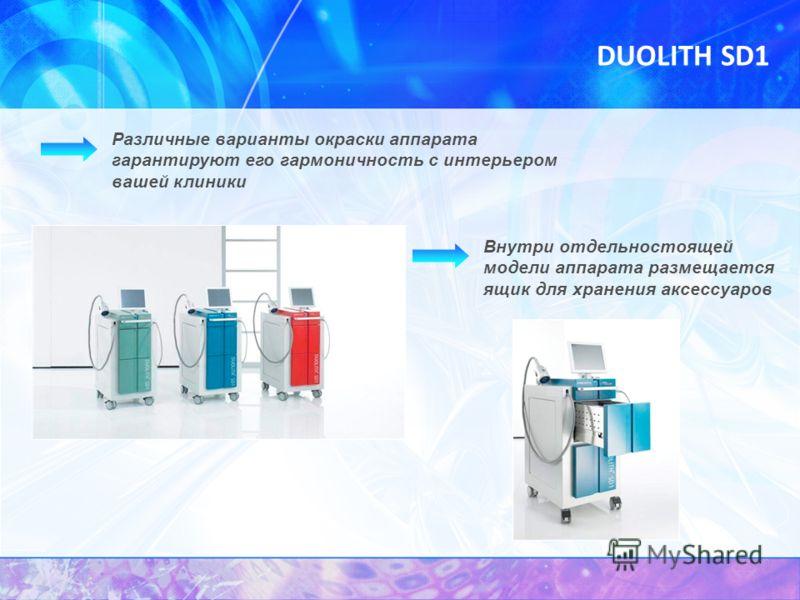 DUOLITH SD1 Внутри отдельностоящей модели аппарата размещается ящик для хранения аксессуаров Различные варианты окраски аппарата гарантируют его гармоничность с интерьером вашей клиники