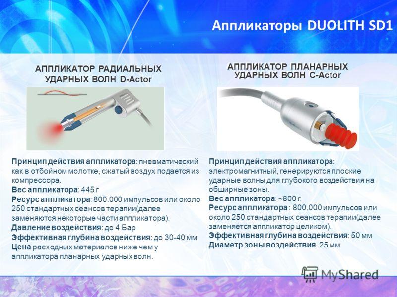 Аппликаторы DUOLITH SD1 Принцип действия аппликатора: пневматический как в отбойном молотке, сжатый воздух подается из компрессора. Вес аппликатора: 445 г Ресурс аппликатора: 800.000 импульсов или около 250 стандартных сеансов терапии(далее заменяютс