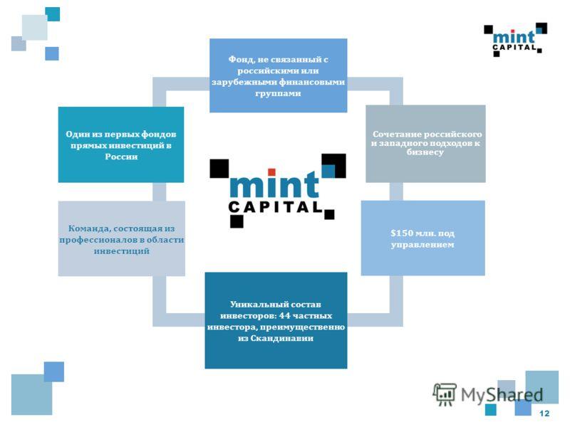 12 Один из первых фондов прямых инвестиций в России Фонд, не связанный с российскими или зарубежными финансовыми группами Сочетание российского и западного подходов к бизнесу $150 млн. под управлением Уникальный состав инвесторов: 44 частных инвестор