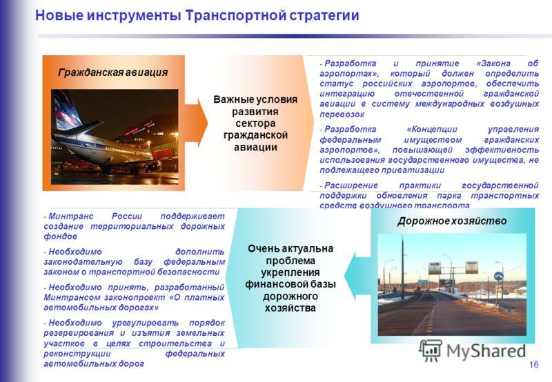 16 Новые инструменты Транспортной стратегии Важные условия развития сектора гражданской авиации Гражданская авиация - Разработка и принятие «Закона об аэропортах», который должен определить статус российских аэропортов, обеспечить интеграцию отечеств