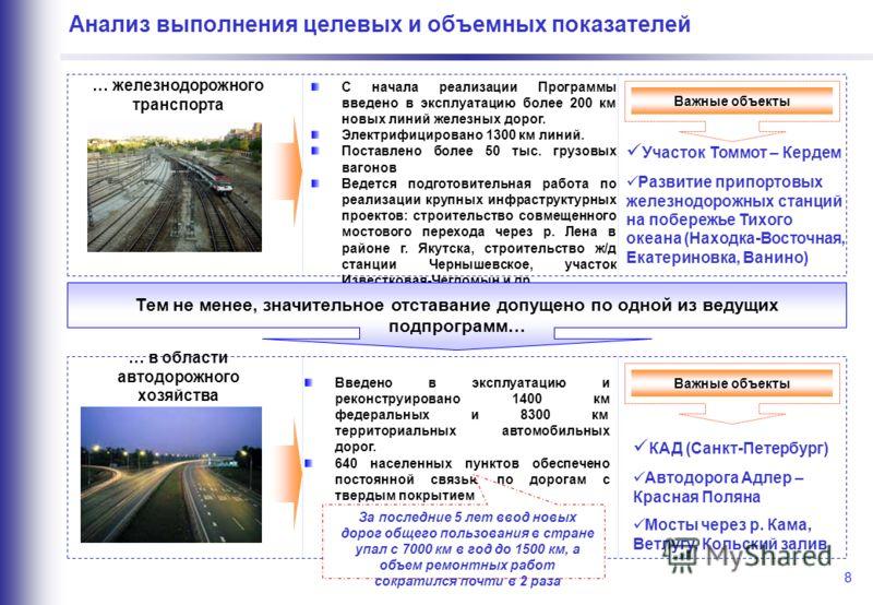 8 Анализ выполнения целевых и объемных показателей … железнодорожного транспорта С начала реализации Программы введено в эксплуатацию более 200 км новых линий железных дорог. Электрифицировано 1300 км линий. Поставлено более 50 тыс. грузовых вагонов