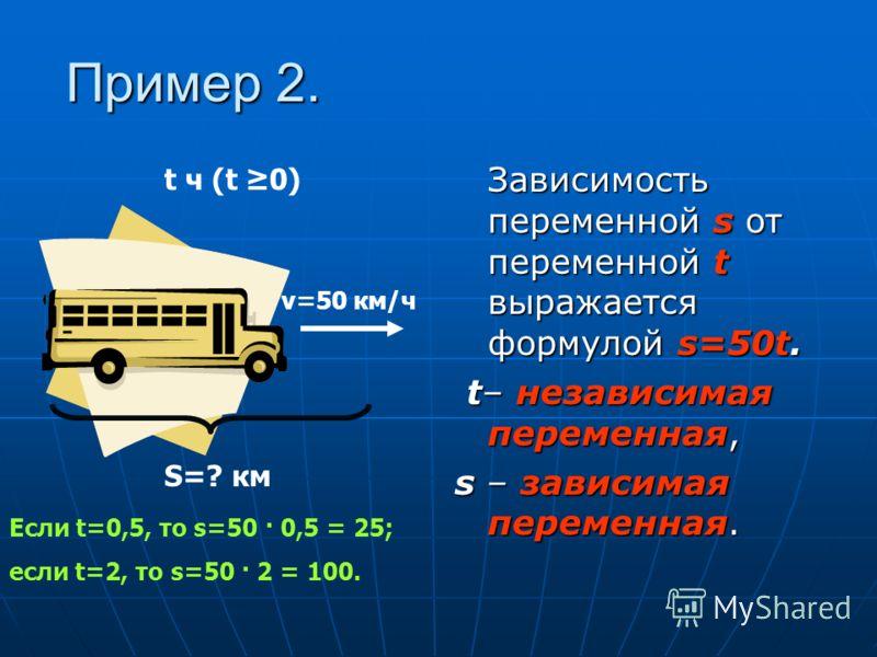 Пример 1. Переменную а, значения которой выбираются произвольно, называют независимой переменной, а переменную S, значения которой определяются выбранными значениями а, - зависимой переменной Переменную а, значения которой выбираются произвольно, наз