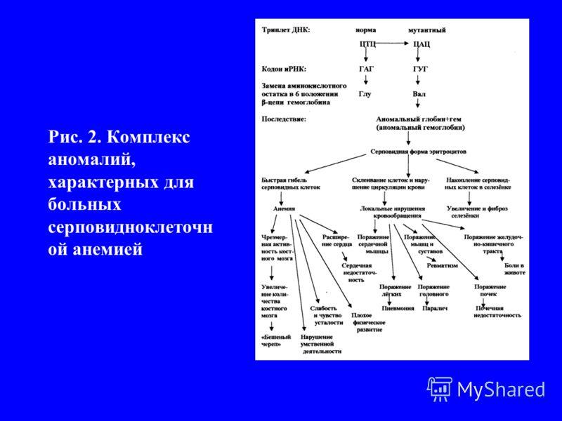 Рис. 2. Комплекс аномалий, характерных для больных серповидноклеточн ой анемией