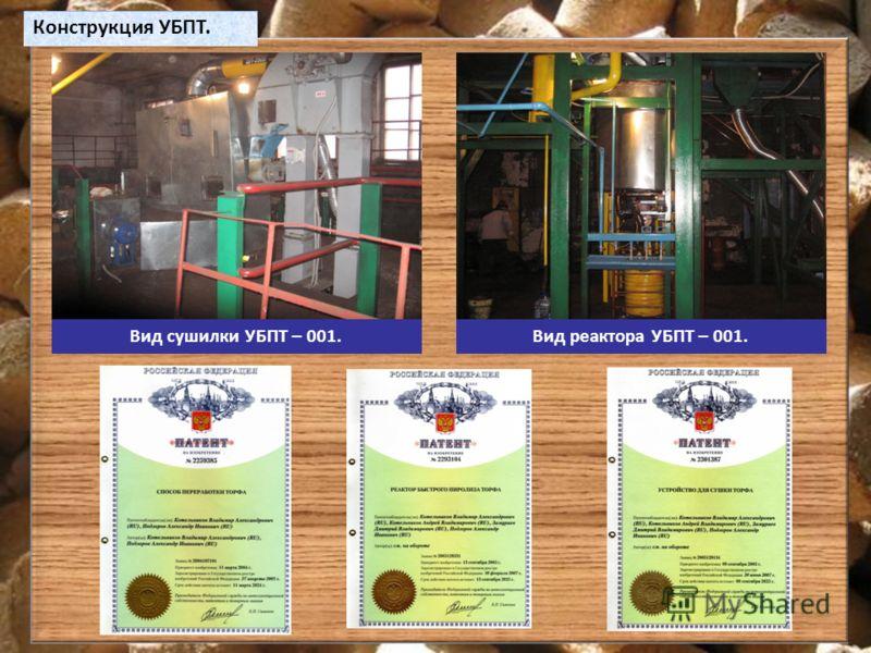 Конструкция УБПТ. Вид сушилки УБПТ – 001.Вид реактора УБПТ – 001.