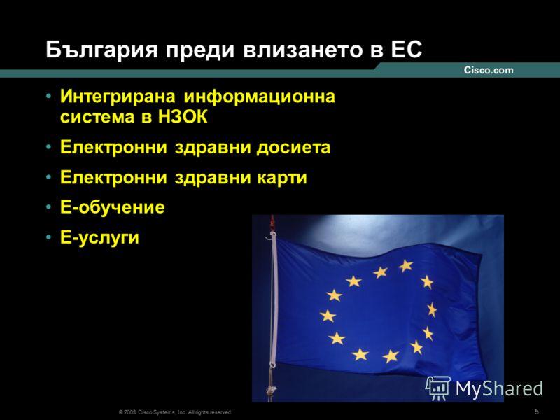 555 © 2003 Cisco Systems, Inc. All rights reserved. 555 България преди влизането в ЕС Интегрирана информационна система в НЗОК Електронни здравни досиета Електронни здравни карти E-обучение Е-услуги © 2005 Cisco Systems, Inc. All rights reserved.
