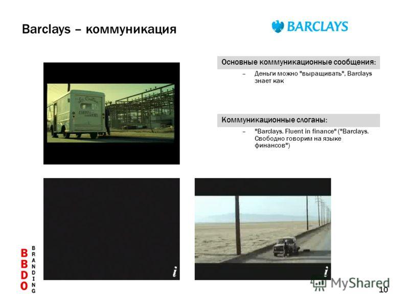 10 Основные коммуникационные сообщения: –Деньги можно выращивать, Barclays знает как Коммуникационные слоганы: –Barclays. Fluent in finance (Barclays. Свободно говорим на языке финансов) Barclays – коммуникация