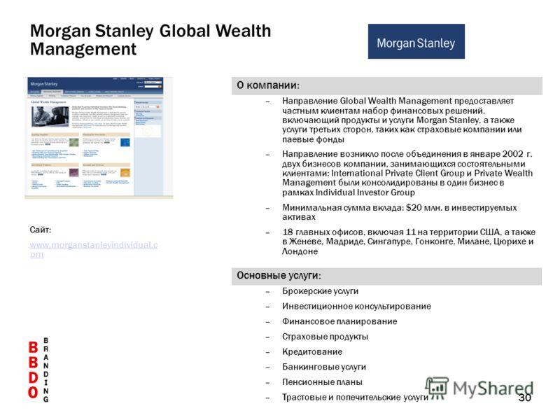 30 О компании: –Направление Global Wealth Management предоставляет частным клиентам набор финансовых решений, включающий продукты и услуги Morgan Stanley, а также услуги третьих сторон, таких как страховые компании или паевые фонды –Направление возни