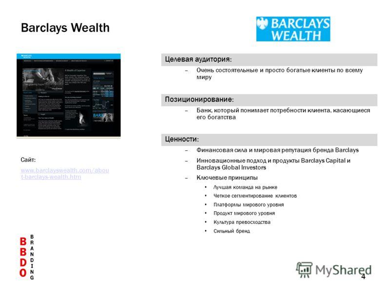 4 Позиционирование: –Банк, который понимает потребности клиента, касающиеся его богатства Целевая аудитория: –Очень состоятельные и просто богатые клиенты по всему миру Barclays Wealth Сайт: www.barclayswealth.com/abou t-barclays-wealth.htm Ценности: