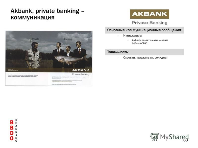 63 Основные коммуникационные сообщения: –Имиджевые: Akbank делает мечты клиента реальностью Тональность: –Строгая, услужливая, солидная Akbank, private banking – коммуникация