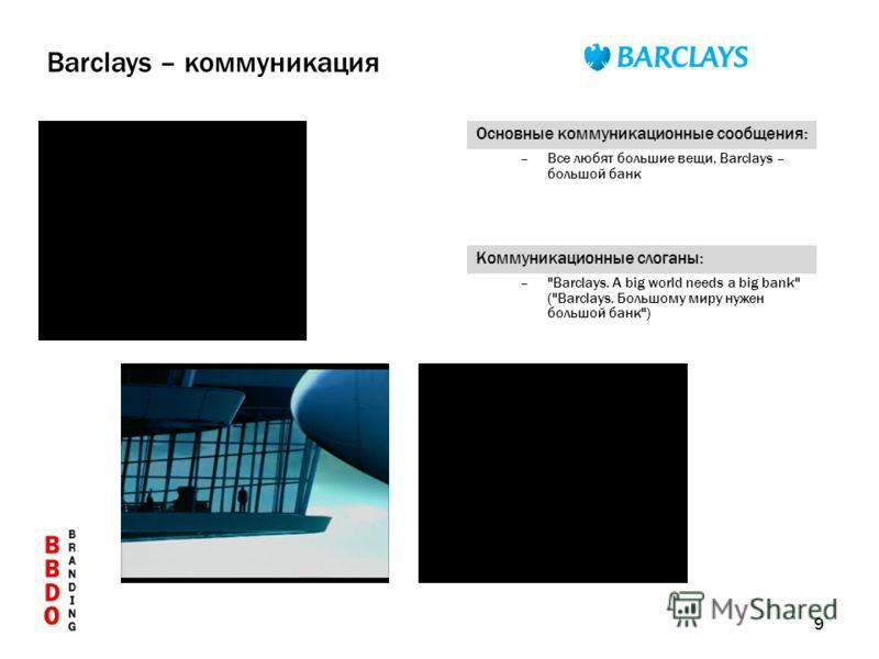 9 Основные коммуникационные сообщения: –Все любят большие вещи, Barclays – большой банк Коммуникационные слоганы: –Barclays. A big world needs a big bank (Barclays. Большому миру нужен большой банк) Barclays – коммуникация
