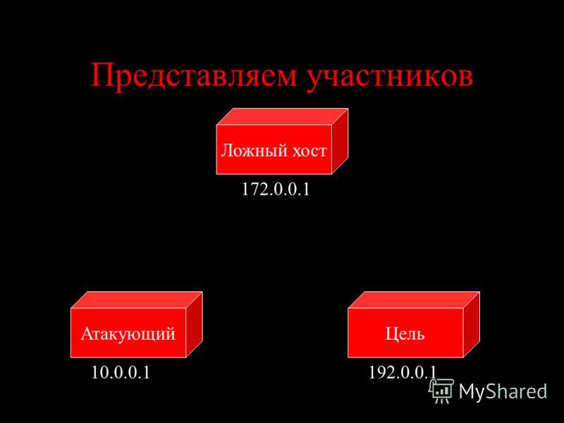 Представляем участников ЦельАтакующий Ложный хост 10.0.0.1192.0.0.1 172.0.0.1