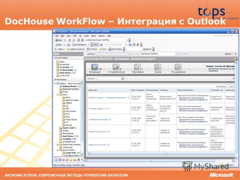 25 DocHouse WorkFlow – Интеграция с Outlook