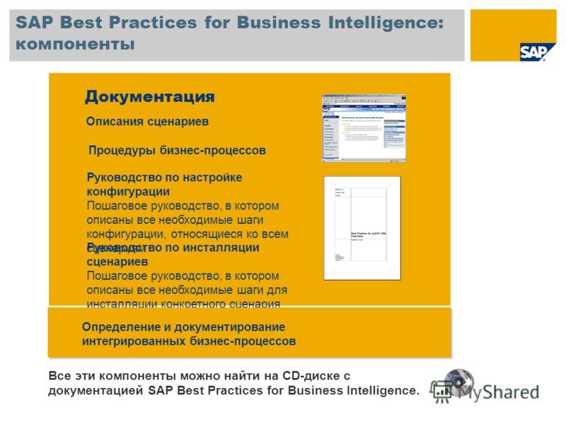 SAP Best Practices for Business Intelligence: компоненты Документация Описания сценариев Процедуры бизнес-процессов Руководство по инсталляции сценариев Пошаговое руководство, в котором описаны все необходимые шаги для инсталляции конкретного сценари