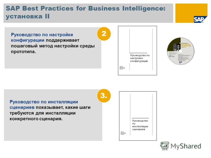 SAP Best Practices for Business Intelligence: установка II Руководство по инсталляции сценариев показывает, какие шаги требуются для инсталляции конкретного сценария. 3. Руководство по настройке конфигурации поддерживает пошаговый метод настройки сре