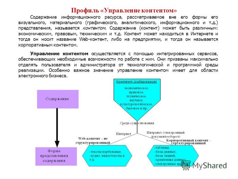 Профиль «Управление контентом» Содержание информационного ресурса, рассматриваемое вне его формы его визуального, материального (графического, аналитического, информационного и т.д.) представления, называется контентом. Содержание (контент) может быт