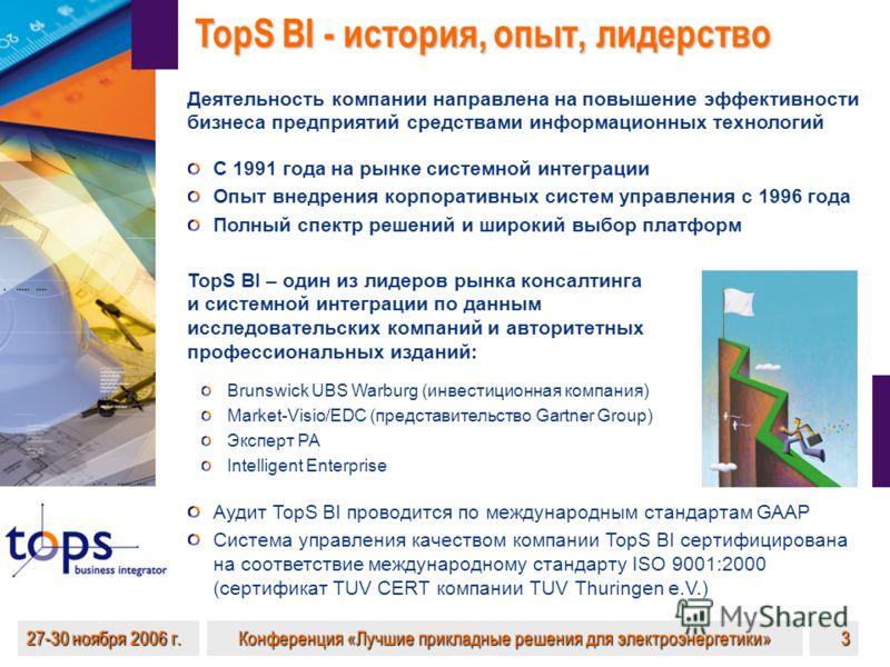 27-30 ноября 2006 г. Конференция «Лучшие прикладные решения для электроэнергетики» 3 TopS BI - история, опыт, лидерство Аудит TopS BI проводится по международным стандартам GAAP Система управления качеством компании TopS BI сертифицирована на соответ