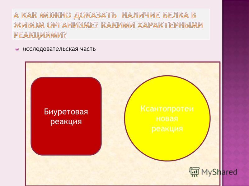 исследовательская часть Биуретовая реакция Ксантопротеи новая реакция