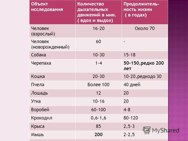 Объект исследования Количество дыхательных движений в мин. ( вдох и выдох) Продолжитель - ность жизни ( в годах) Человек (взрослый) 16-20Около 70 Человек (новорожденный) 60- Собака10-3015-18 Черепаха1-450-150,редко 200 лет Кошка20-3010-20,редкодо 30