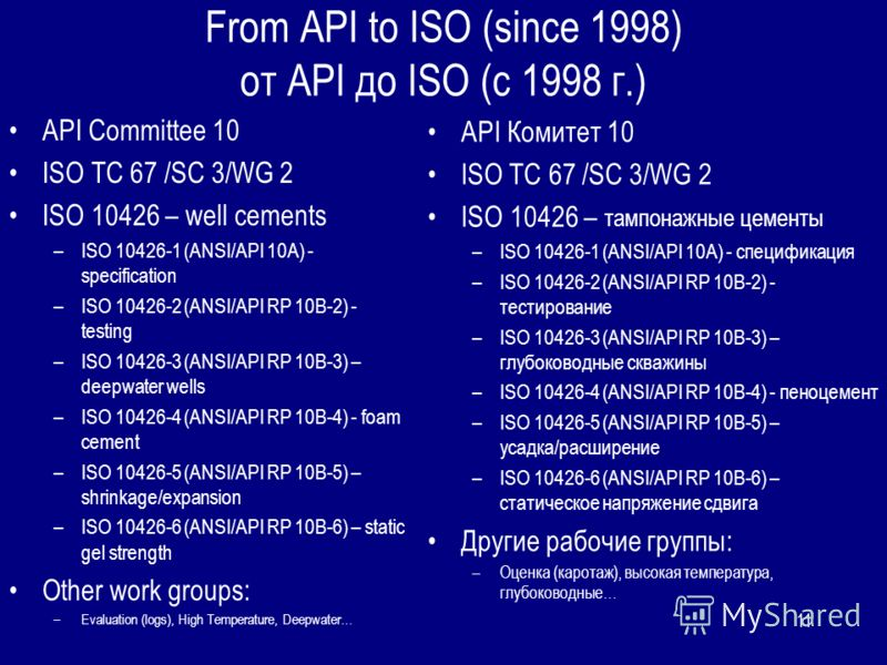 11 From API to ISO (since 1998) от API до ISO (c 1998 г.) API Committee 10 ISO TC 67 /SC 3/WG 2 ISO 10426 – well cements –ISO 10426-1 (ANSI/API 10A) - specification –ISO 10426-2 (ANSI/API RP 10B-2) - testing –ISO 10426-3 (ANSI/API RP 10B-3) – deepwat