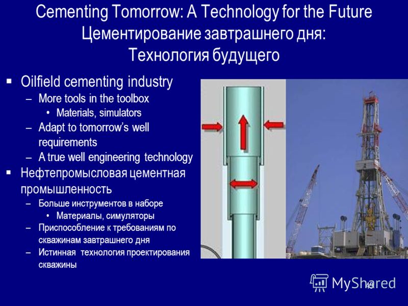 49 Cementing Tomorrow: A Technology for the Future Цементирование завтрашнего дня: Технология будущего Oilfield cementing industry –More tools in the toolbox Materials, simulators –Adapt to tomorrows well requirements –A true well engineering technol