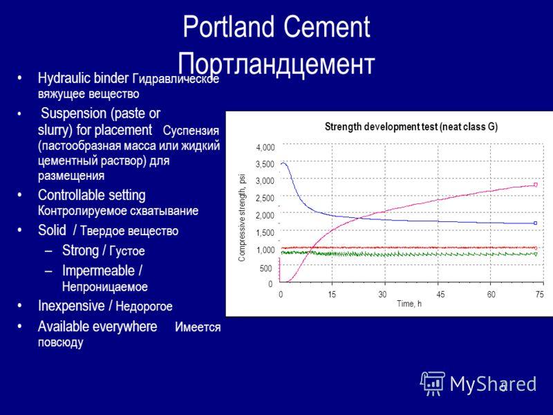 5 Portland Cement Портландцемент Hydraulic binder Гидравлическое вяжущее вещество Suspension (paste or slurry) for placement Суспензия (пастообразная масса или жидкий цементный раствор) для размещения Controllable setting Контролируемое схватывание S