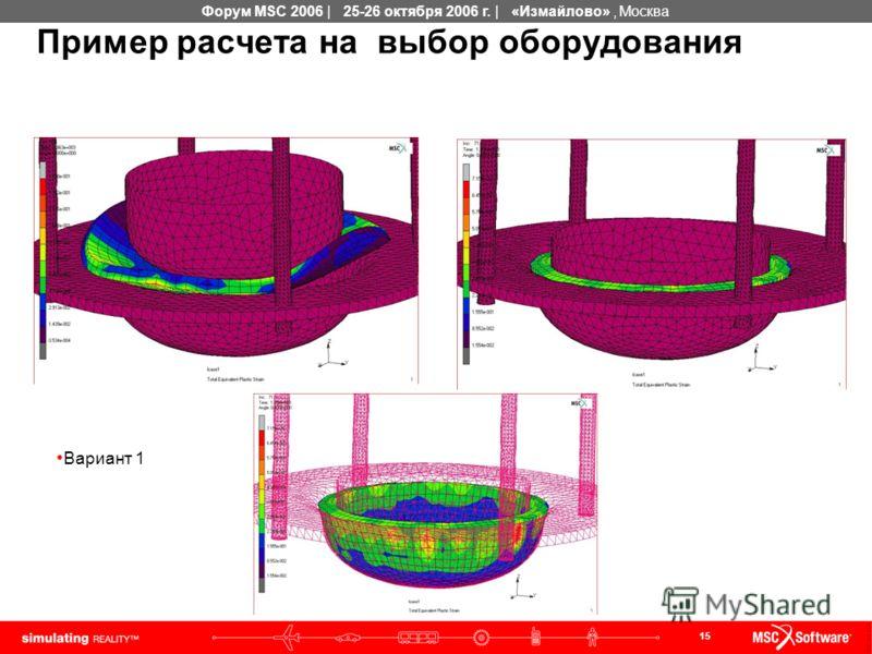 15 Форум MSC 2006 | 25-26 октября 2006 г. | «Измайлово», Москва Пример расчета на выбор оборудования Вариант 1