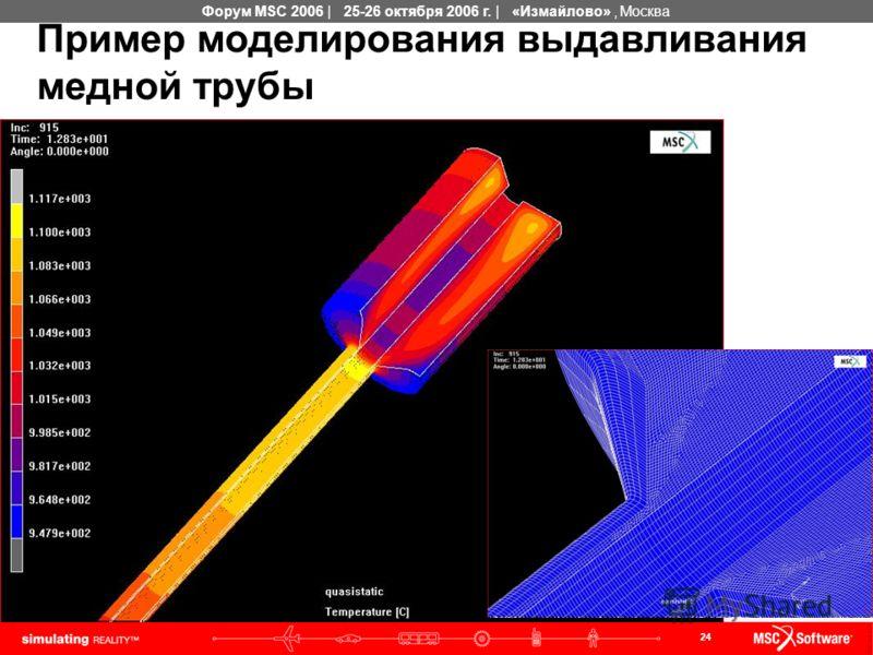 24 Форум MSC 2006 | 25-26 октября 2006 г. | «Измайлово», Москва Пример моделирования выдавливания медной трубы