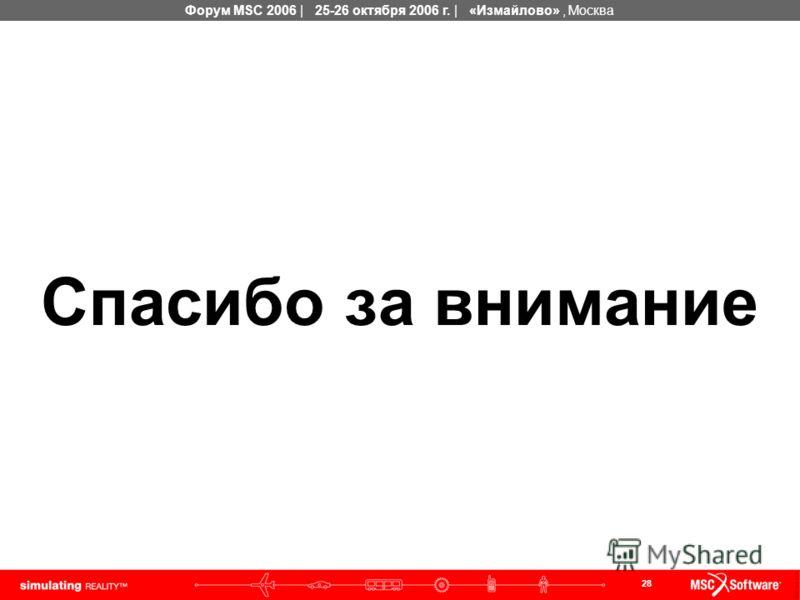 28 Форум MSC 2006 | 25-26 октября 2006 г. | «Измайлово», Москва Спасибо за внимание