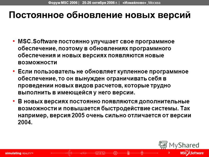 3 Форум MSC 2006 | 25-26 октября 2006 г. | «Измайлово», Москва Постоянное обновление новых версий MSC.Software постоянно улучшает свое программное обеспечение, поэтому в обновлениях программного обеспечения и новых версиях появляются новые возможност