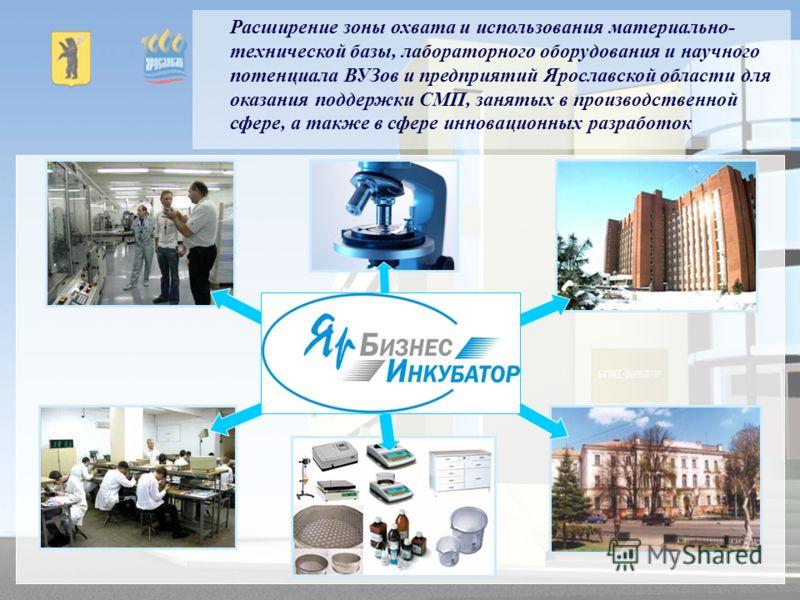Расширение зоны охвата и использования материально- технической базы, лабораторного оборудования и научного потенциала ВУЗов и предприятий Ярославской области для оказания поддержки СМП, занятых в производственной сфере, а также в сфере инновационных