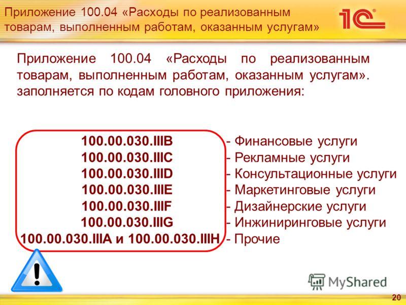Приложение 100.04 «Расходы по реализованным товарам, выполненным работам, оказанным услугам» 20 Приложение 100.04 «Расходы по реализованным товарам, выполненным работам, оказанным услугам». заполняется по кодам головного приложения: 100.00.030.IIIB 1