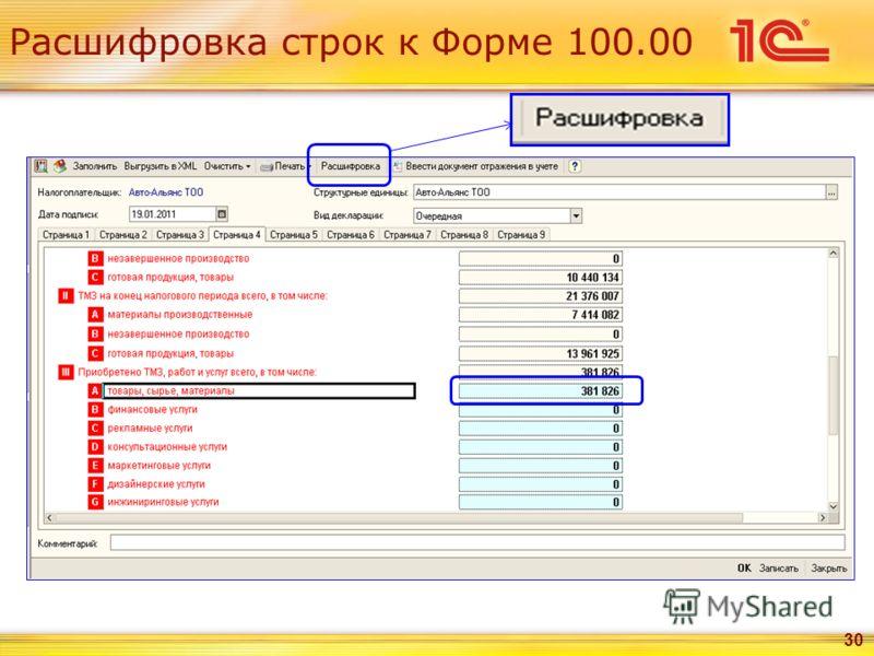 Расшифровка строк к Форме 100.00 30