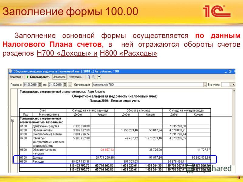 Заполнение формы 100.00 6 Заполнение основной формы осуществляется по данным Налогового Плана счетов, в ней отражаются обороты счетов разделов Н700 «Доходы» и Н800 «Расходы»