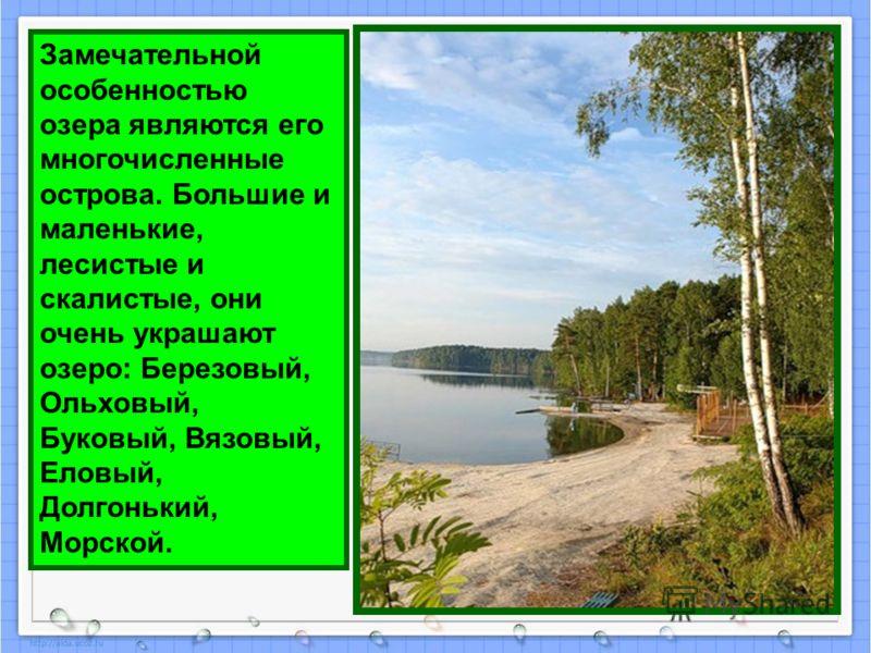 Замечательной особенностью озера являются его многочисленные острова. Большие и маленькие, лесистые и скалистые, они очень украшают озеро: Березовый, Ольховый, Буковый, Вязовый, Еловый, Долгонький, Морской.