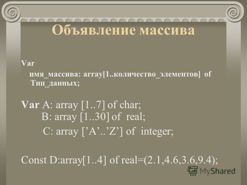 Объявление массива Var имя_массива: array[1..количество_элементов] of Тип_данных; Var A: array [1..7] of char; B: array [1..30] of real; C: array [A..Z] of integer; Const D:array[1..4] of real=(2.1,4.6,3.6,9.4);