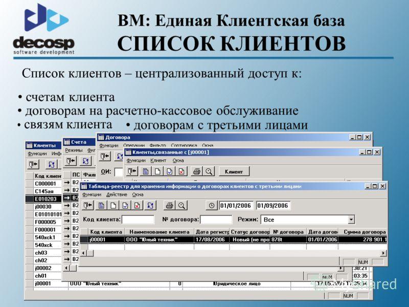 BM: Единая Клиентская база СПИСОК КЛИЕНТОВ Список клиентов – централизованный доступ к: счетам клиента договорам на расчетно-кассовое обслуживание связям клиента договорам с третьими лицами