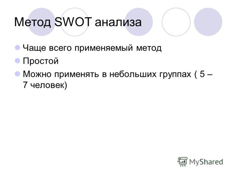 Метод SWOT анализа Чаще всего применяемый метод Простой Можно применять в небольших группах ( 5 – 7 человек)
