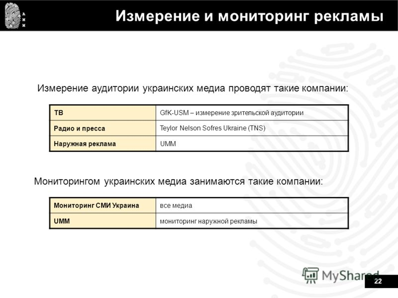 22 Измерение и мониторинг рекламы ТВGfK-USM – измерение зрительской аудитории Радио и пресса Teylor Nelson Sofres Ukraine (TNS) Наружная рекламаUMM Измерение аудитории украинских медиа проводят такие компании: Мониторингом украинских медиа занимаются