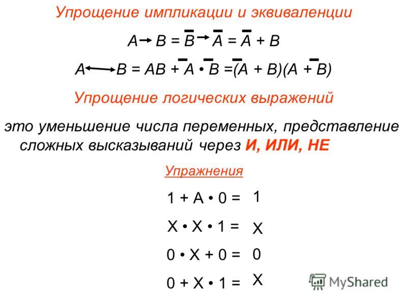 Законы алгебры логики Переместительный закон А + В = В + А А В = В А Сочетательный закон (А + В) + С = А + (В+С) (А В) С = А (В С) Распределительный закон (А + В) С = АС + ВС АВ + С = (А +С) (В + С) Закон де Моргана (закон отрицания) А + В = А В АВ =
