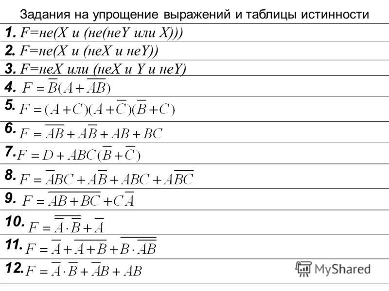 Упрощение импликации и эквиваленции А В = В А = А + В А В = АВ + А В =(А + В)(А + В) Упрощение логических выражений это уменьшение числа переменных, представление сложных высказываний через И, ИЛИ, НЕ Упражнения 1 + А 0 = Х Х 1 = 0 Х + 0 = 0 + Х 1 =