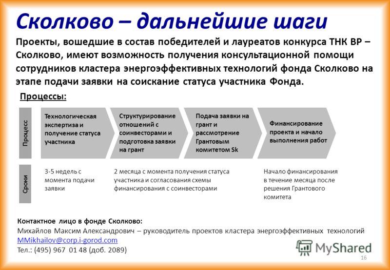 Лауреаты 7 проектов будут рекомендованы экспертной коллегии фонда Сколково для дальнейшего рассмотрения 15