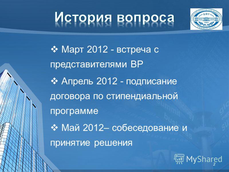 Март 2012 - встреча с представителями BP Апрель 2012 - подписание договора по стипендиальной программе Май 2012– собеседование и принятие решения 2