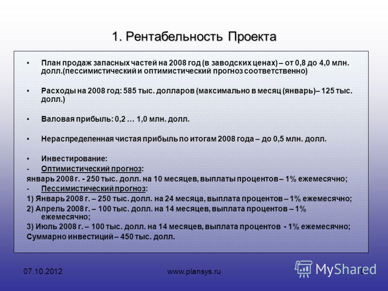 16.08.2012www.plansys.ru5 1. Рентабельность Проекта План продаж запасных частей на 2008 год (в заводских ценах) – от 0,8 до 4,0 млн. долл.(пессимистический и оптимистический прогноз соответственно) Расходы на 2008 год: 585 тыс. долларов (максимально