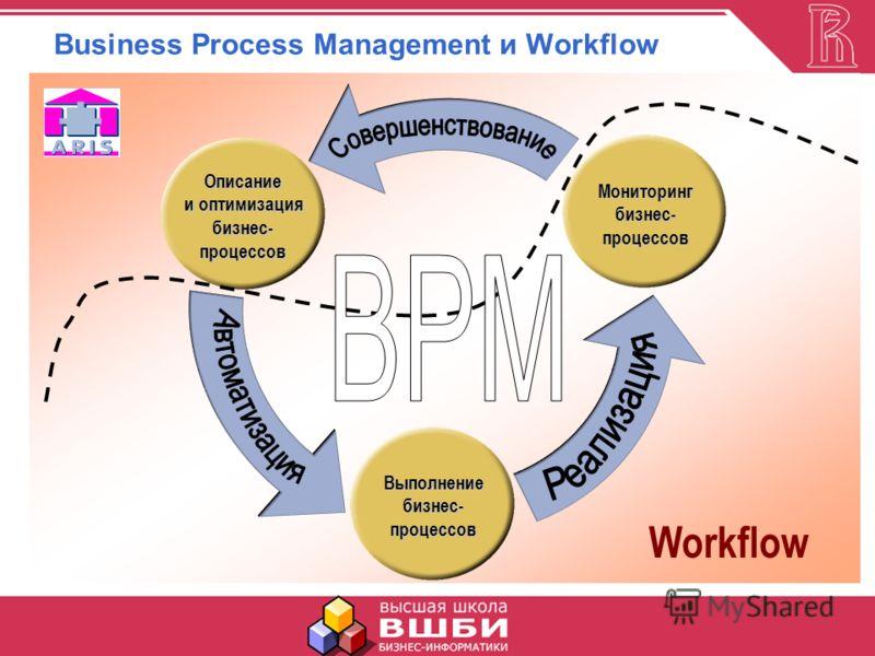 Business Process Management и WorkflowВыполнениебизнес-процессов Мониторингбизнес-процессов Описание и оптимизация бизнес-процессов Workflow
