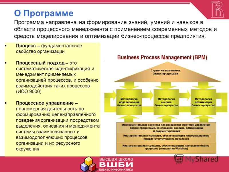 О Программе Программа направлена на формирование знаний, умений и навыков в области процессного менеджмента с применением современных методов и средств моделирования и оптимизации бизнес-процессов предприятия. Центральное место занимает концепция про