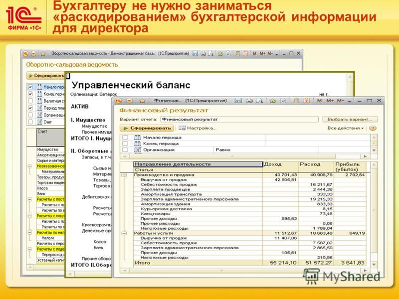 Бухгалтеру не нужно заниматься «раскодированием» бухгалтерской информации для директора