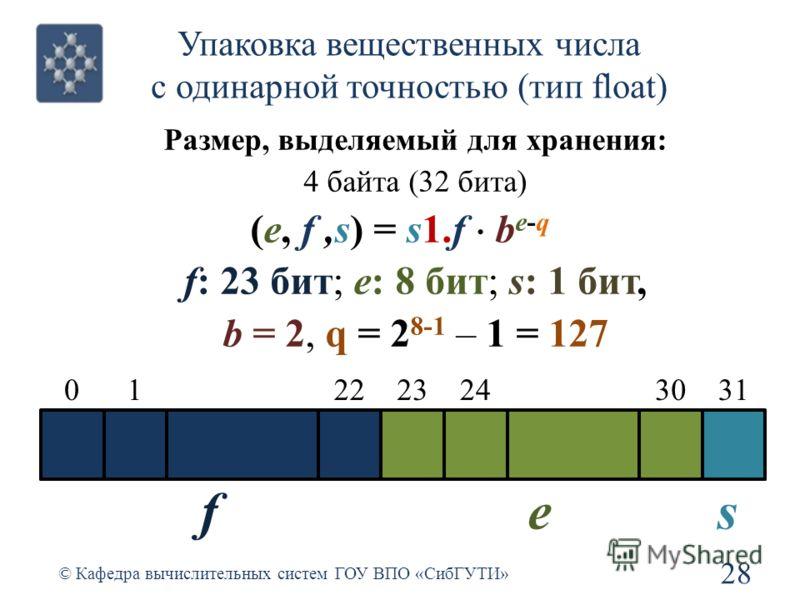 Упаковка вещественных числа с одинарной точностью (тип float) 28 © Кафедра вычислительных систем ГОУ ВПО «СибГУТИ» 0 Размер, выделяемый для хранения: 4 байта (32 бита) (e, f,s) = s1.f b e-q f: 23 бит; e: 8 бит; s: 1 бит, b = 2, q = 2 8-1 – 1 = 127 22